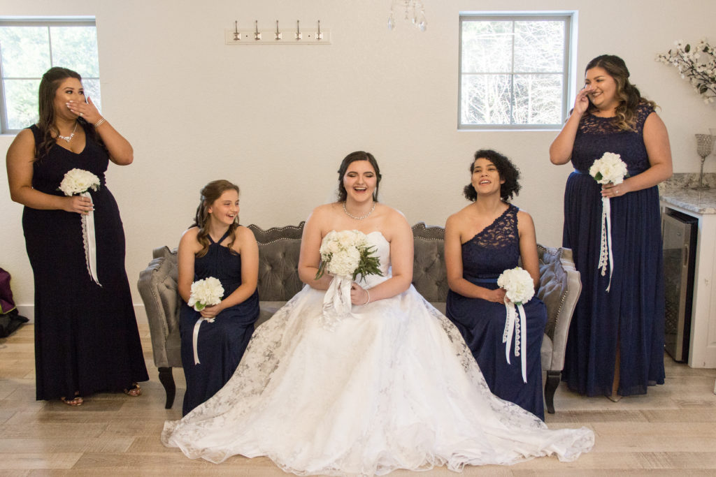 Me and bridesmaids laughing before wedding