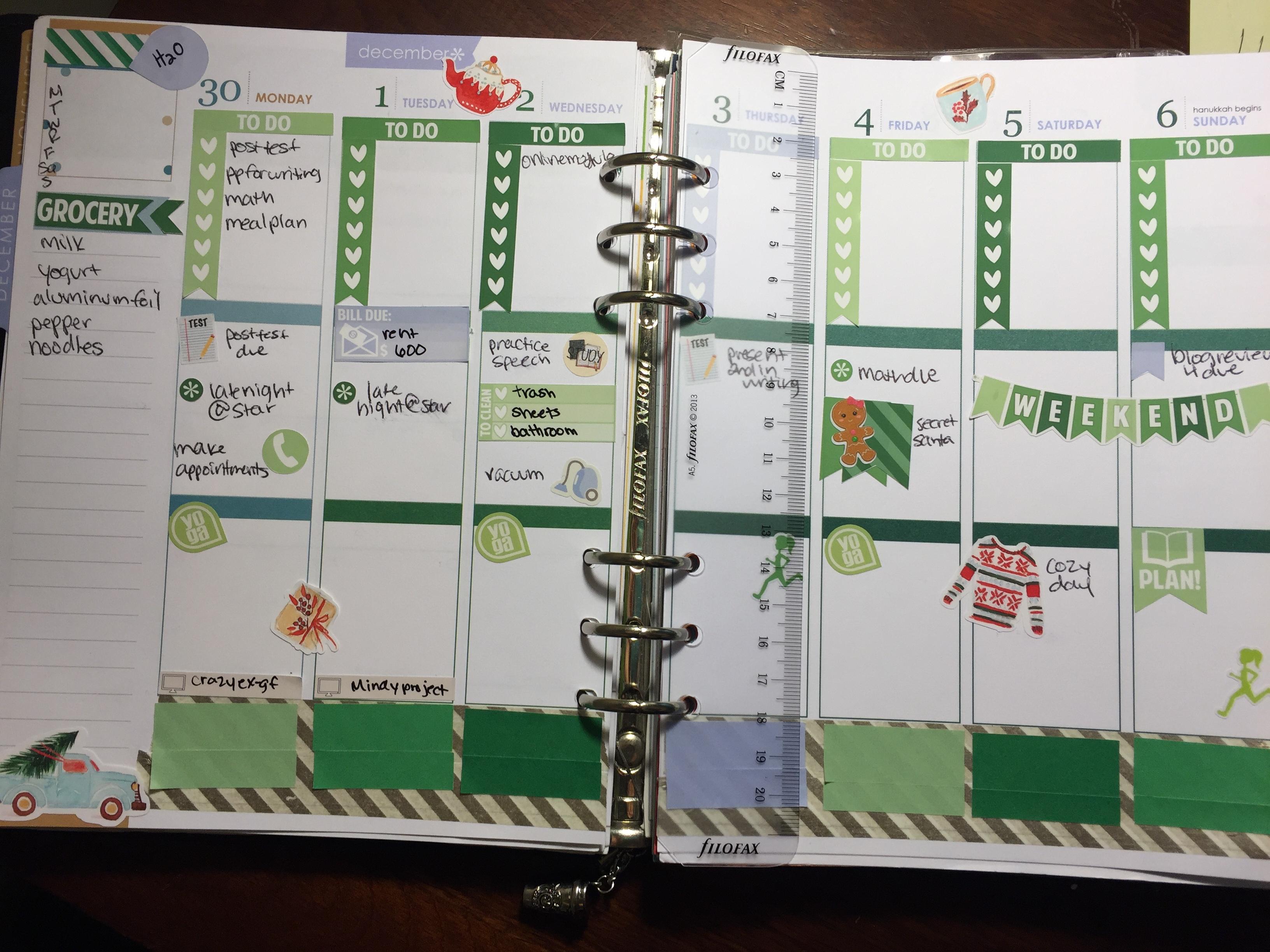 december week planned